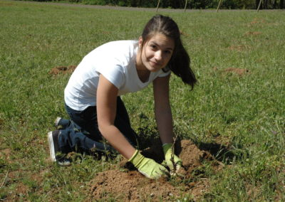 Rachael at the foundation planting